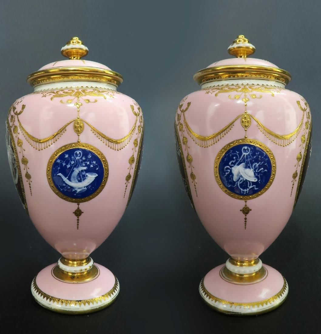 A Pair of Albion Birks Mintons Pate Sur Pate Vases - 8