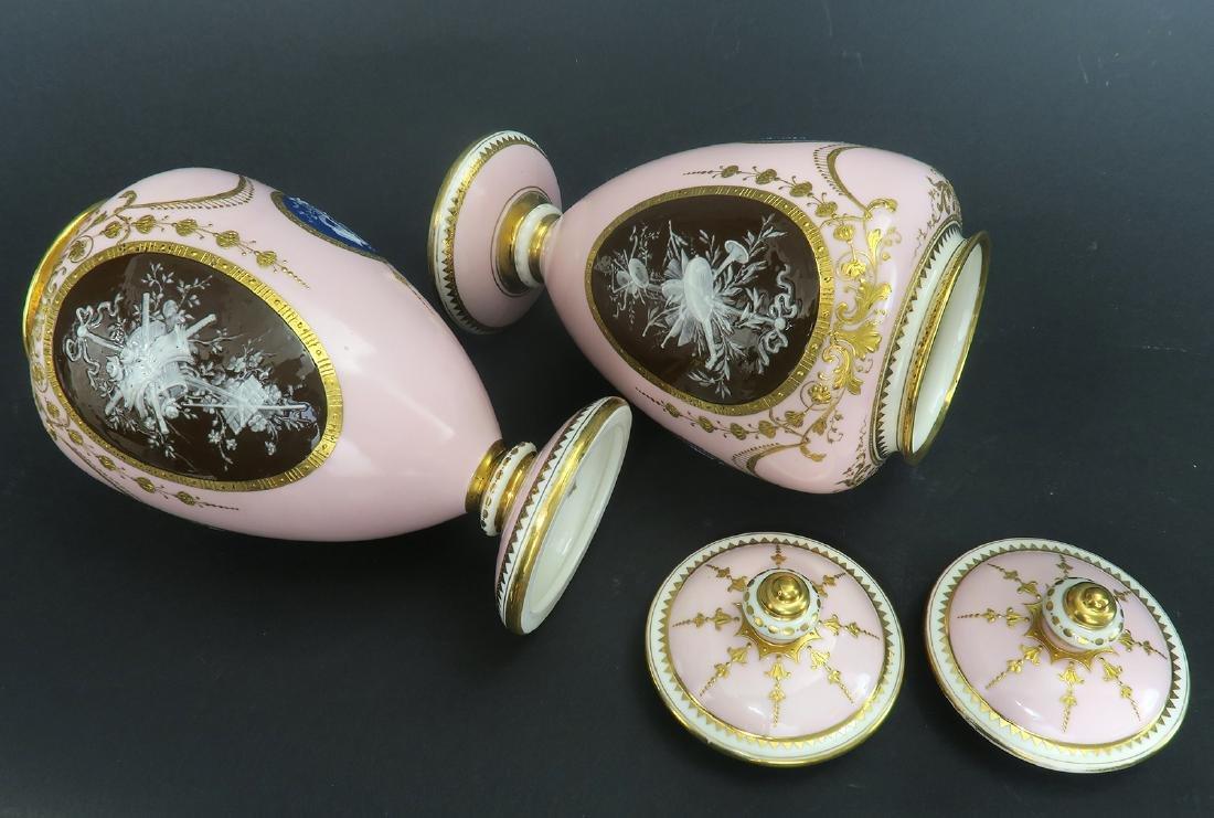 A Pair of Albion Birks Mintons Pate Sur Pate Vases - 9