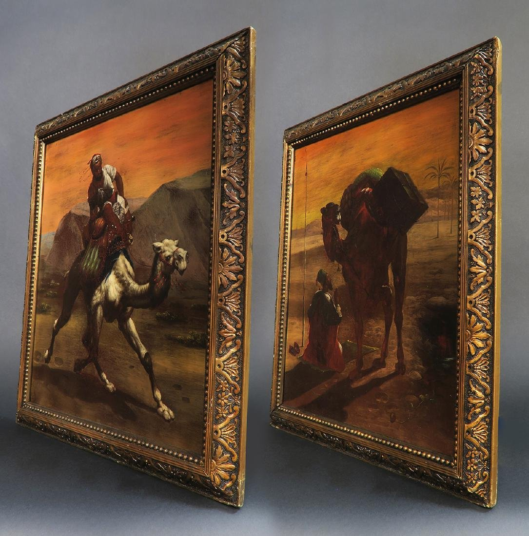 Pair Of 19th C. Orientalist Oil On Copper Paintings - 4