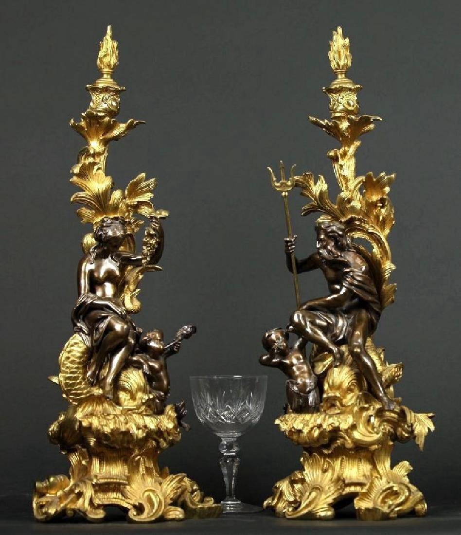 Pair of Gilt & Patinated Bronze Candle Sticks/ Chenets - 2