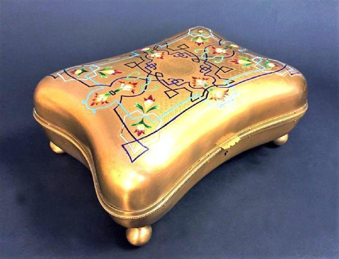 Large French Bronze & Champleve Enamel Jewelry Box