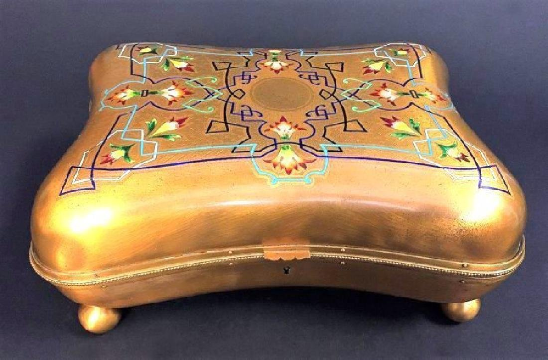 Large French Bronze & Champleve Enamel Jewelry Box - 2