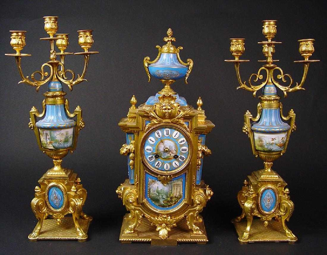 19TH CENTURY FRENCH SEVERS CLOCK SET