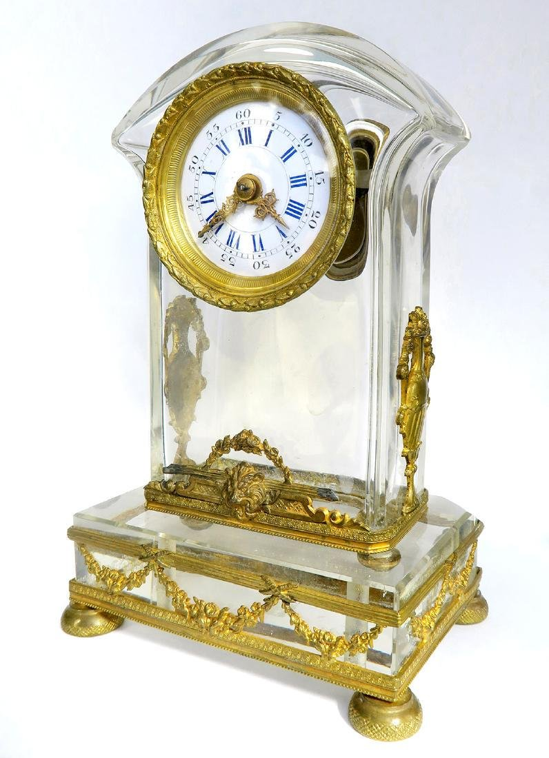 French Bronze & Baccarat Crystal Desk Clock, 19th C.