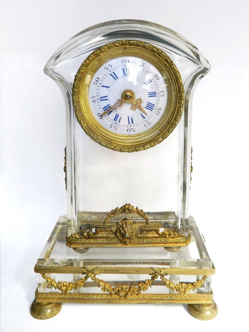 French Bronze & Baccarat Crystal Desk Clock, 19th C. - 2
