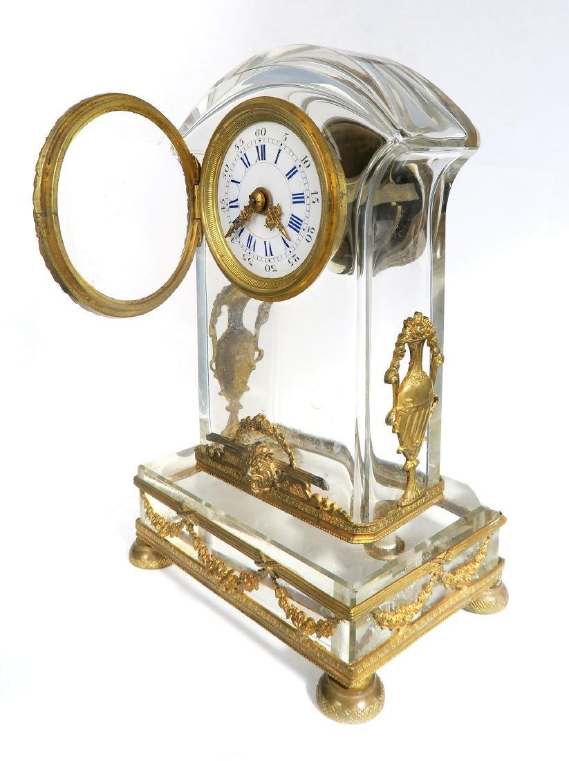 French Bronze & Baccarat Crystal Desk Clock, 19th C. - 3