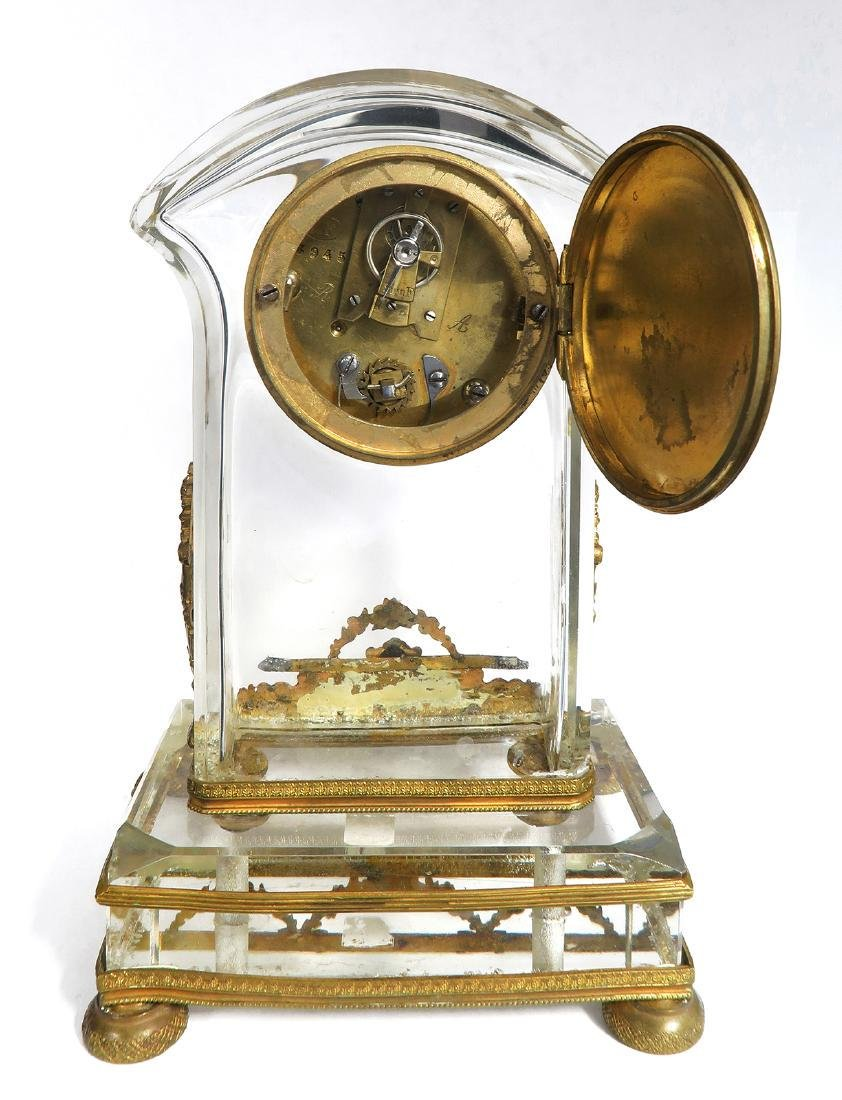 French Bronze & Baccarat Crystal Desk Clock, 19th C. - 5