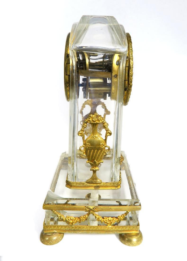 French Bronze & Baccarat Crystal Desk Clock, 19th C. - 6