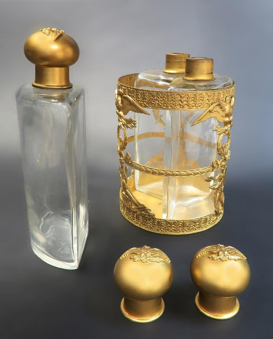 19th C French Bronze & Baccarat Crystal Perfume Bottles - 4