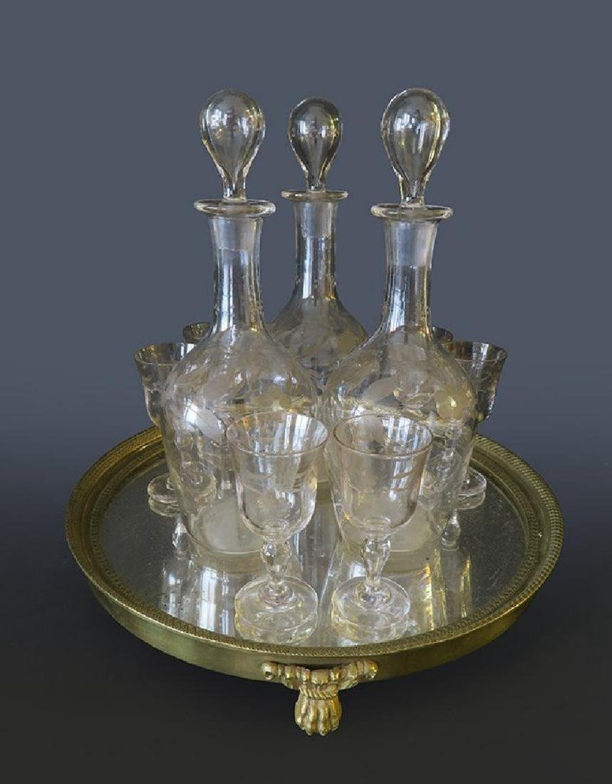 Stunning Baccarat Crystal Liquor Set & Gilt Bronze Tray