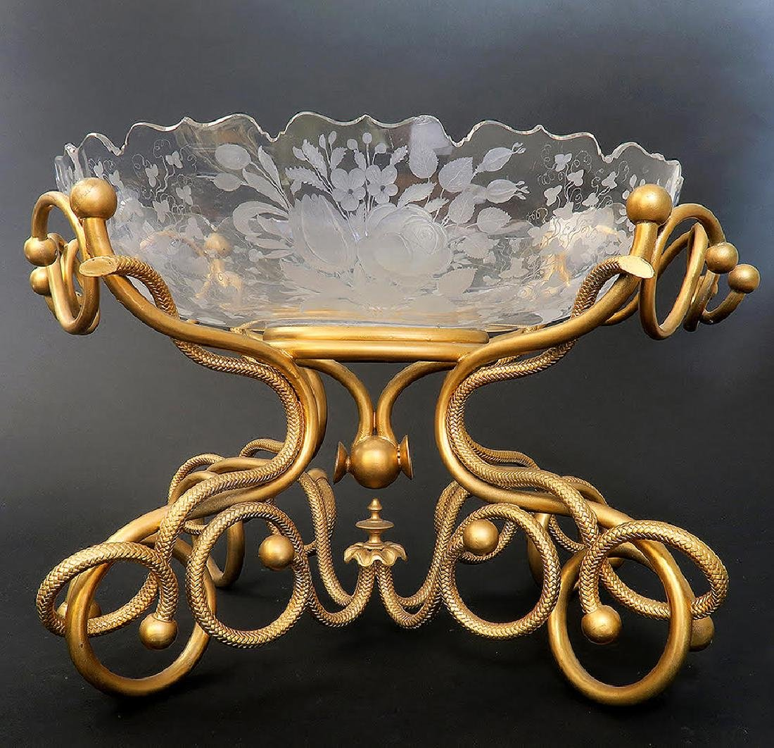 French Bronze & Baccarat Crystal Centerpiece