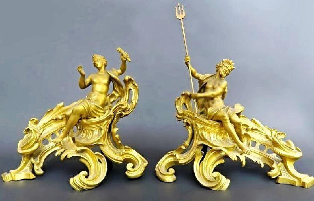 19th C. Bronze Fireplace Chenets Attributed to F. Linke