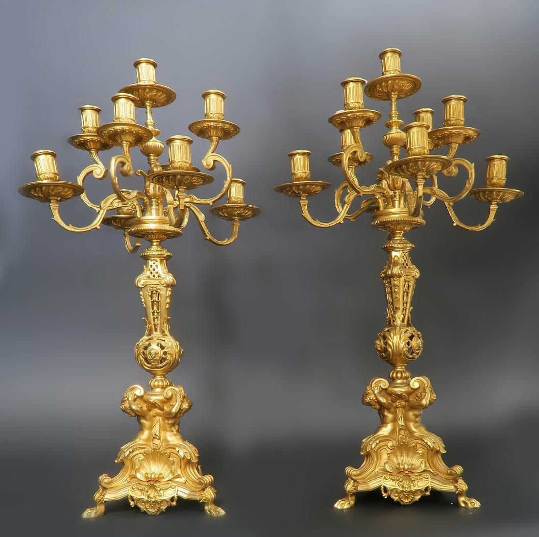 "French ""F. Barbedienne"" Figural Bronze Clock Set - 10"