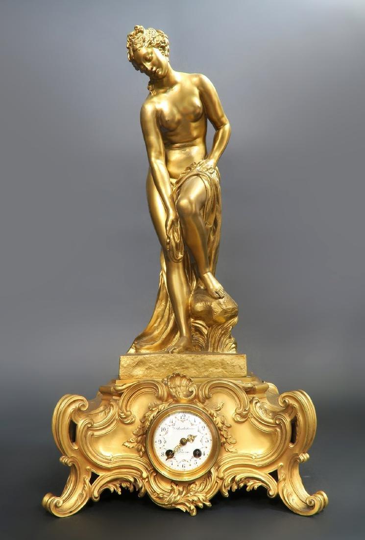 "French ""F. Barbedienne"" Figural Bronze Clock Set - 2"