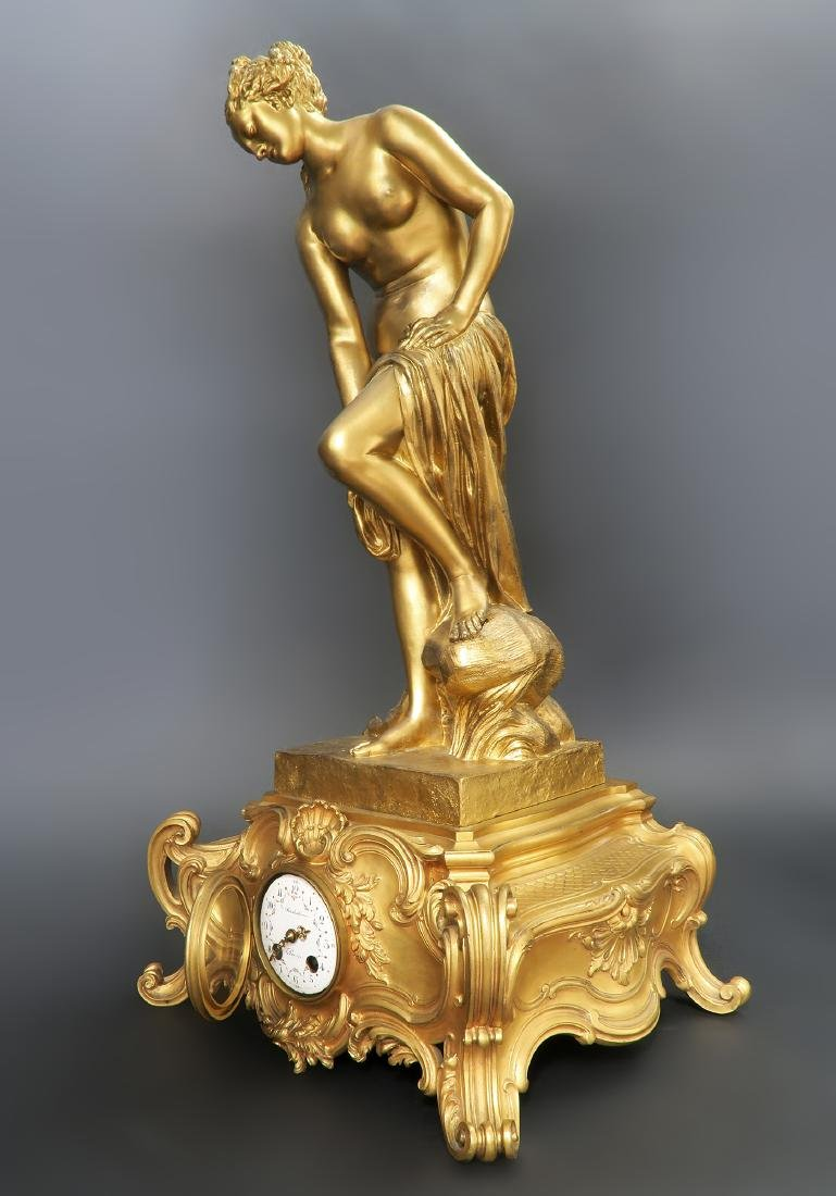 "French ""F. Barbedienne"" Figural Bronze Clock Set - 3"