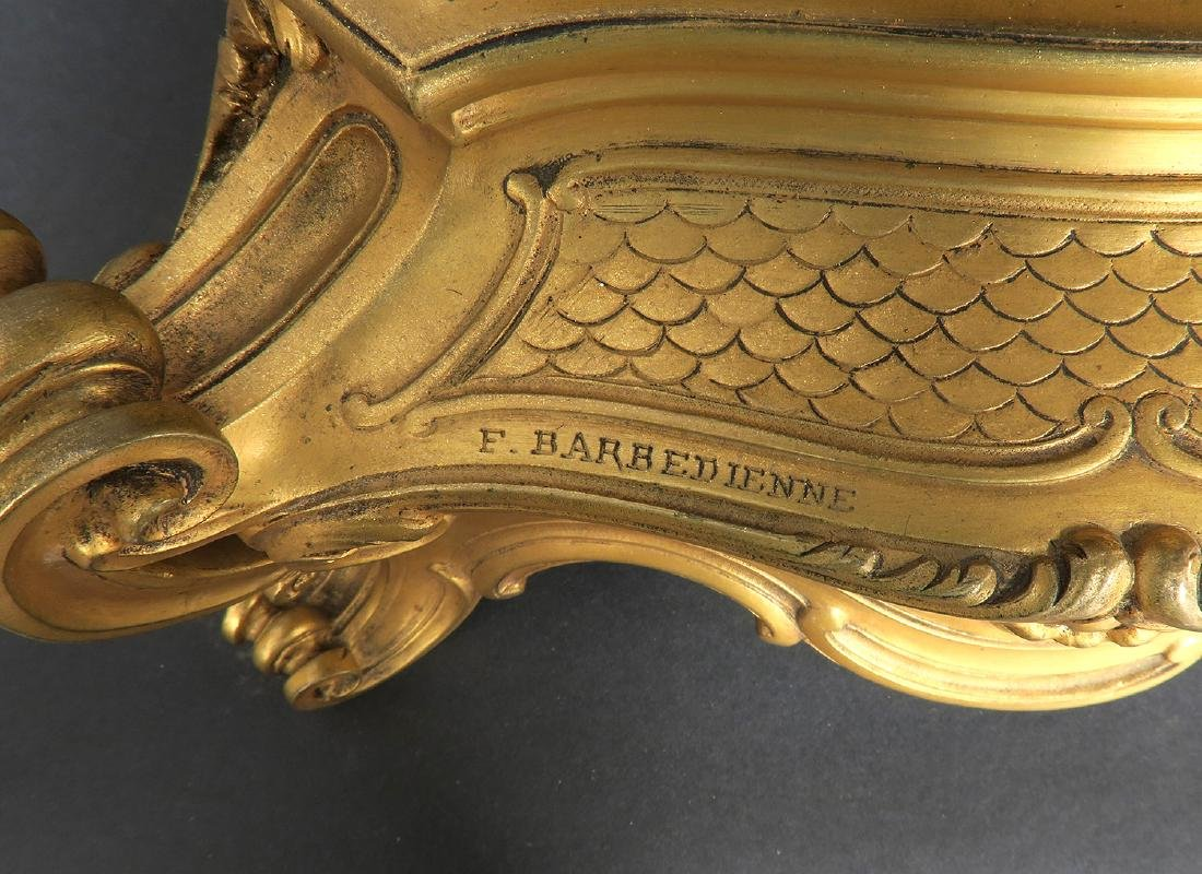 "French ""F. Barbedienne"" Figural Bronze Clock Set - 5"