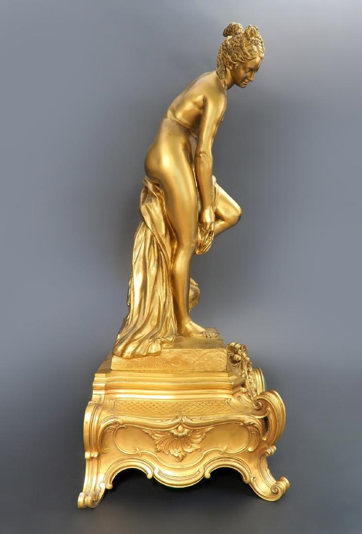 "French ""F. Barbedienne"" Figural Bronze Clock Set - 7"