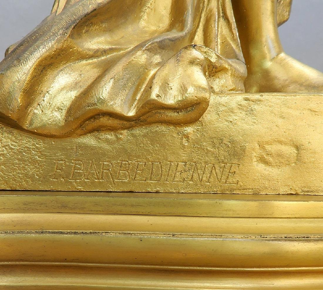 "French ""F. Barbedienne"" Figural Bronze Clock Set - 8"