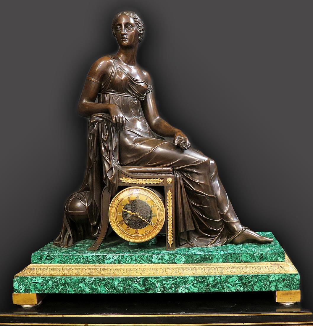 Large 19th C. French Malachite Figural Bronze Clock