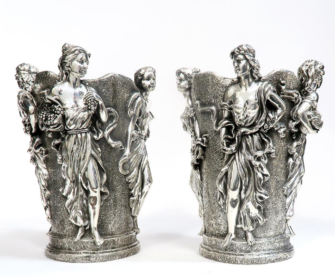 A Pair of Large Figural Sterling Silver Vases - 2