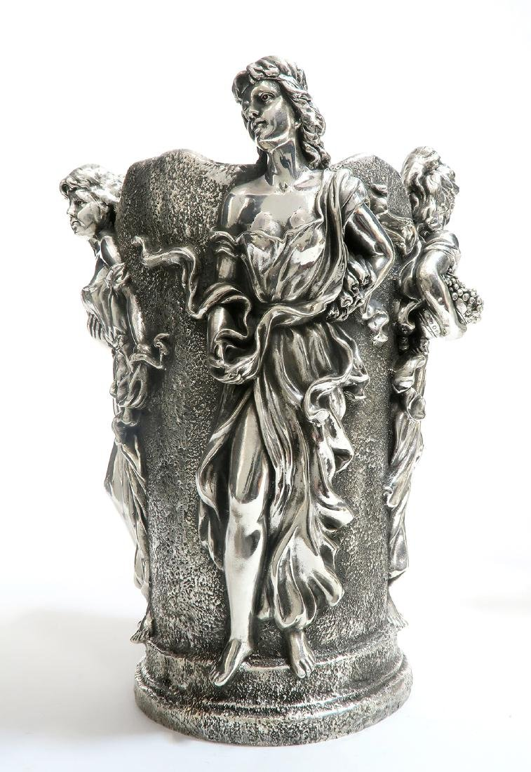 A Pair of Large Figural Sterling Silver Vases - 3