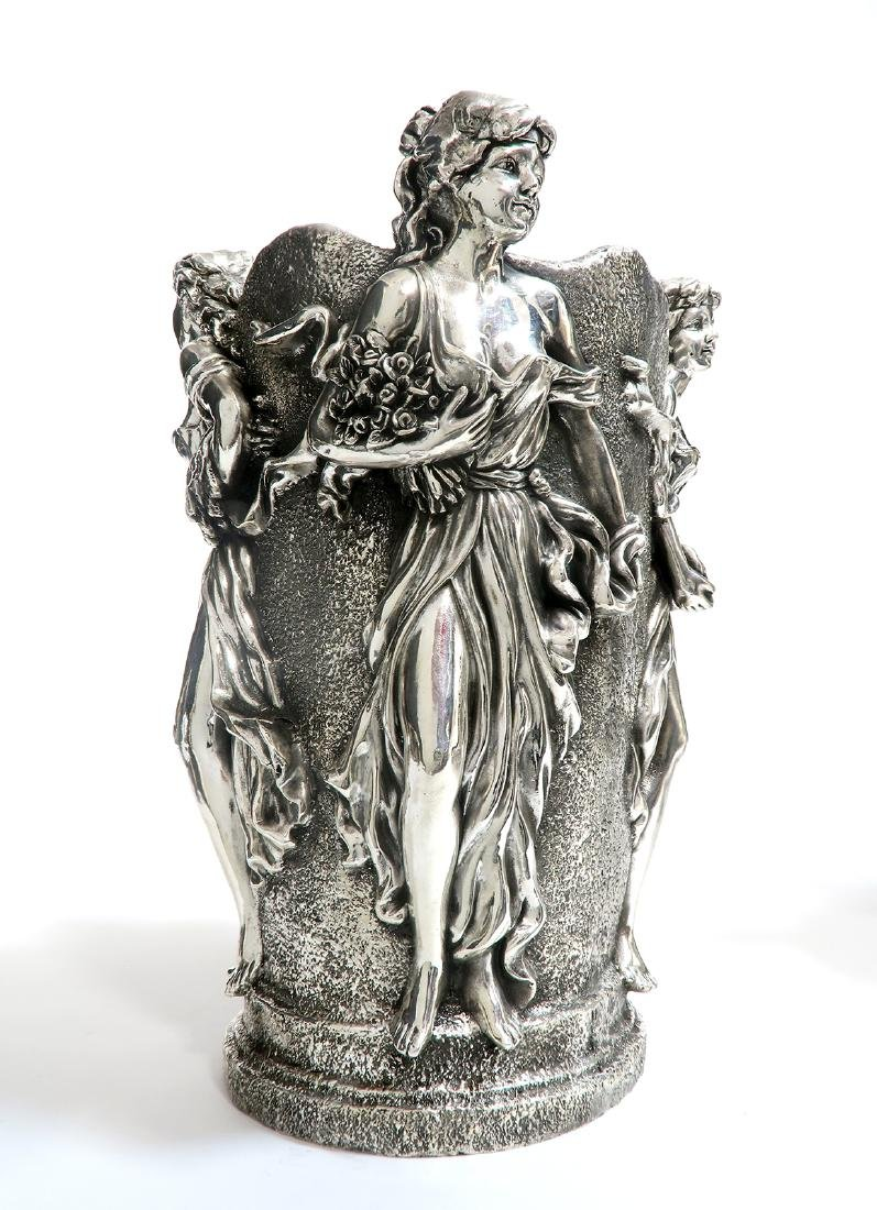 A Pair of Large Figural Sterling Silver Vases - 4