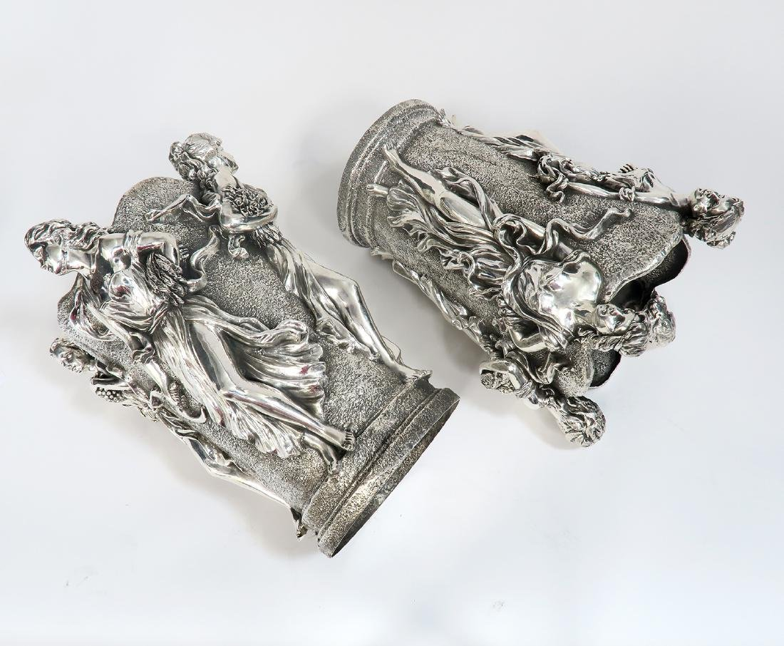 A Pair of Large Figural Sterling Silver Vases - 6