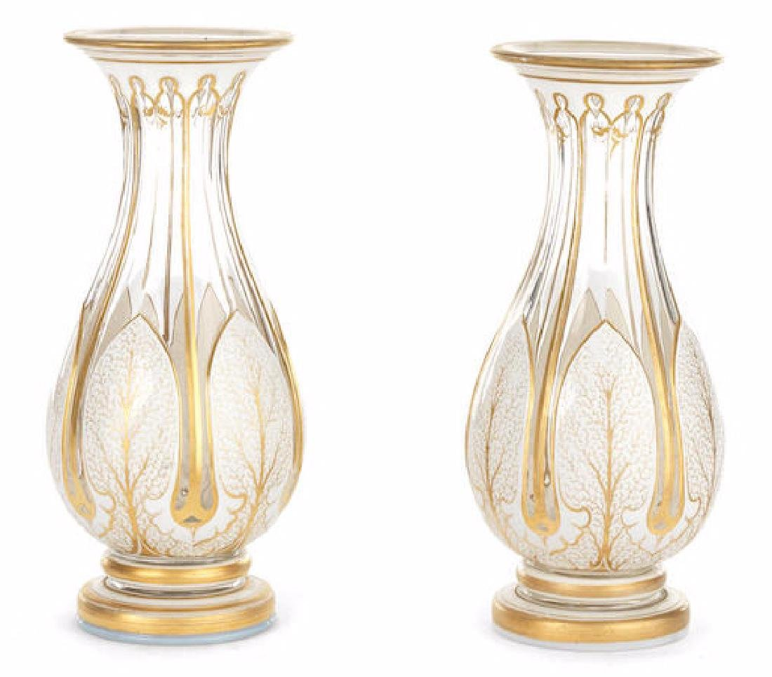 19TH C. BOHEMIAN OPAQUE FLASHED & CLEAR CUT GLASS VASES