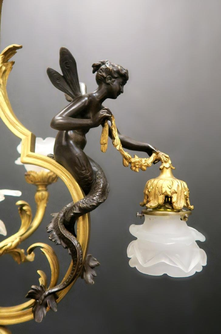 Fine 19th C. French Figural Bronze Chandelier - 5