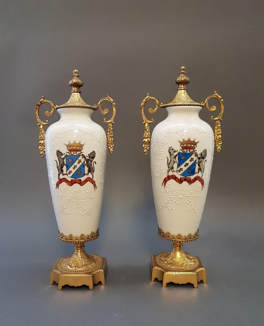 A Pair Of Continental Empire Bronze & Porcelain Urns