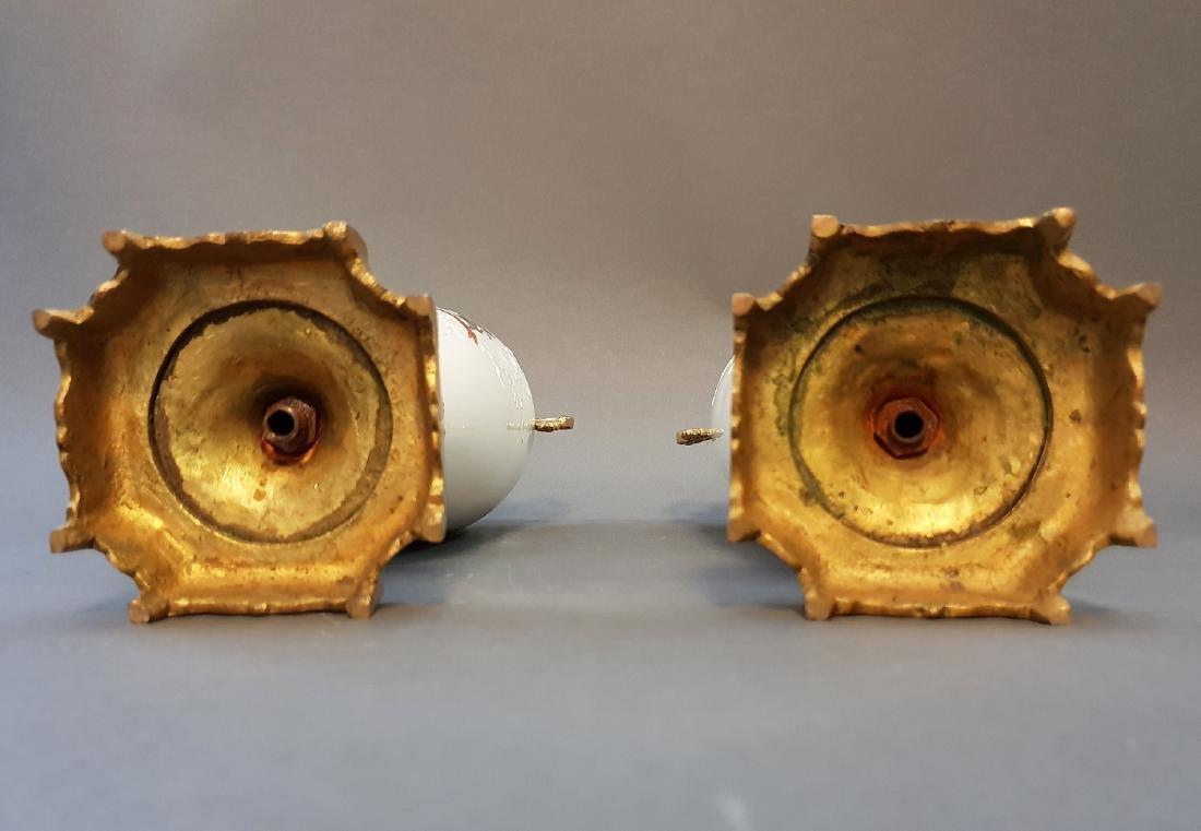A Pair Of Continental Empire Bronze & Porcelain Urns - 5