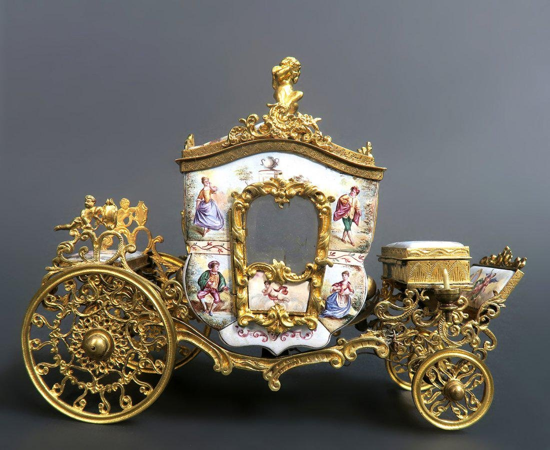 Large Austrian/Viennese Enamel Carriage