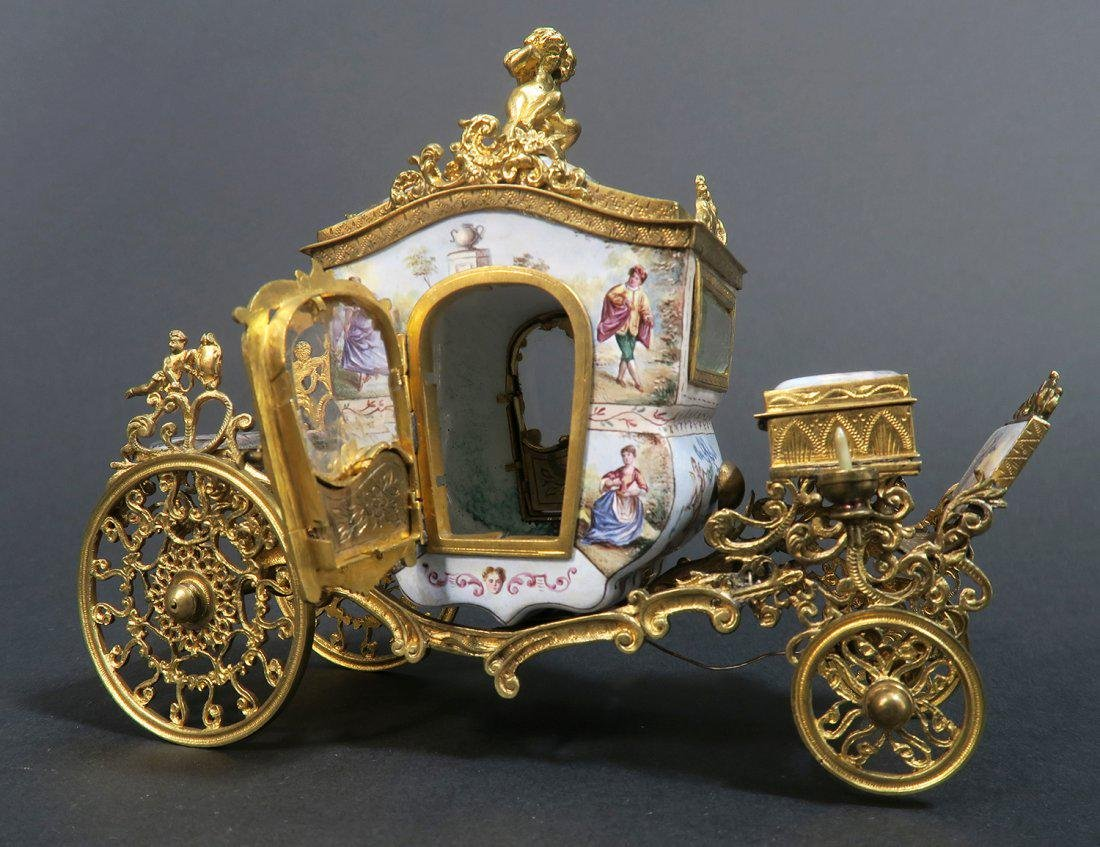 Large Austrian/Viennese Enamel Carriage - 3