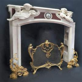 19th C. Grand Figural Marble Fireplace Mantel