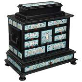 19th C. Viennese Large Enamel-Mounted Jewelry Cabinet
