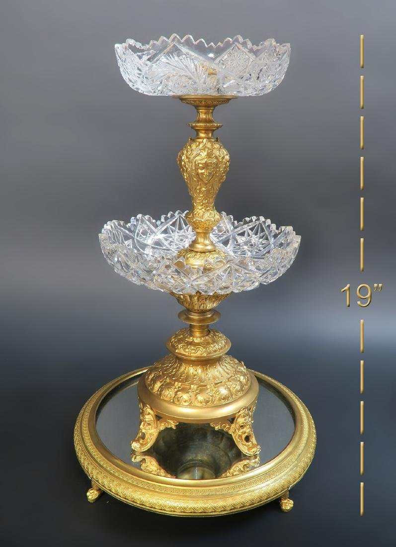 19th C. French Bronze & Crystal Centerpiece/Plateau