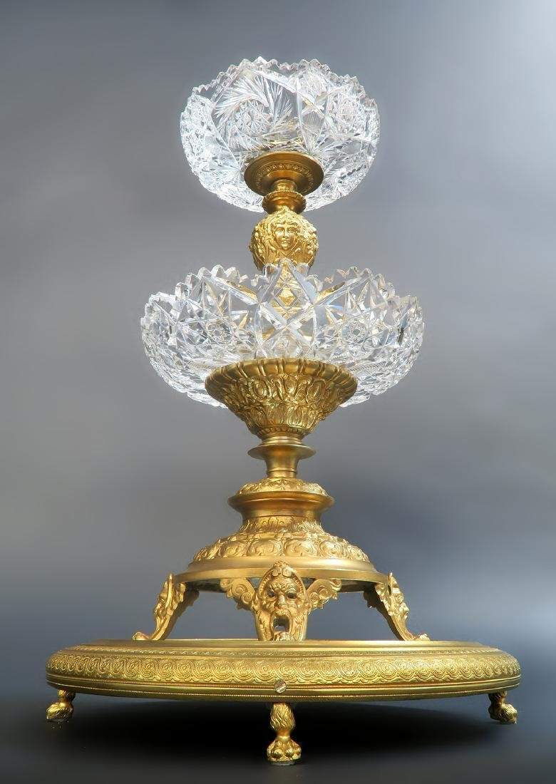 19th C. French Bronze & Crystal Centerpiece/Plateau - 3