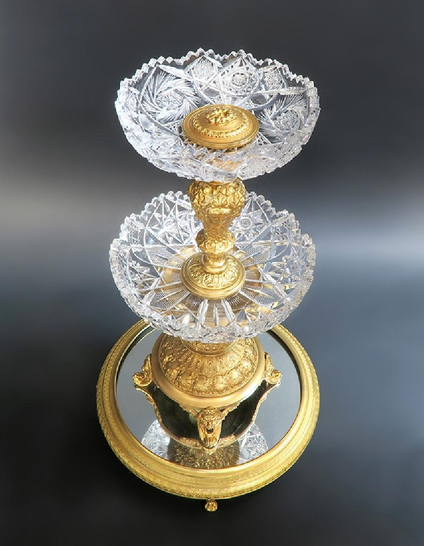 19th C. French Bronze & Crystal Centerpiece/Plateau - 4