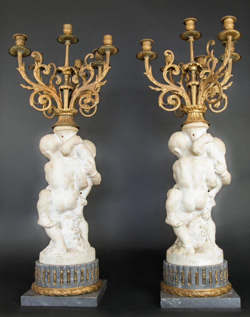 Monumental Pair of French Marble & Gilt Candelabras - 4