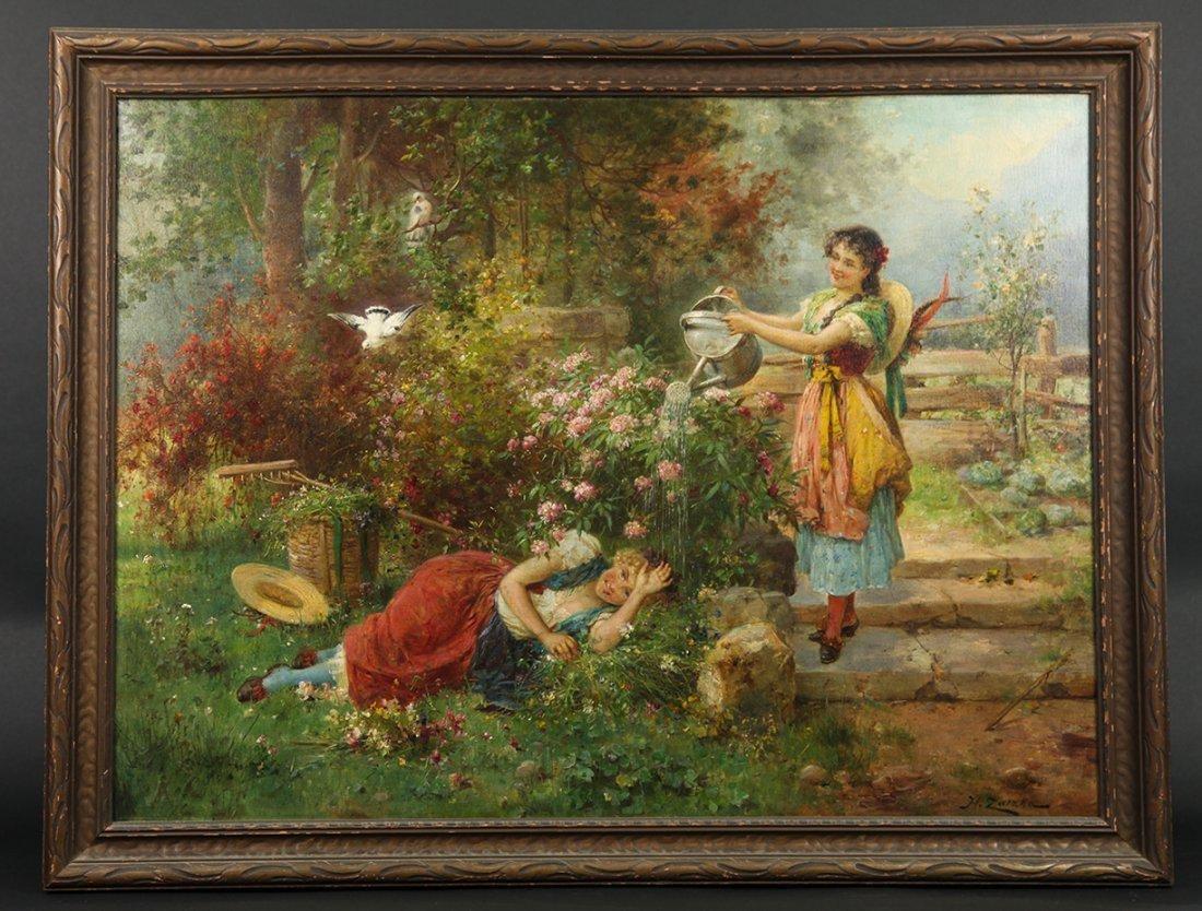 "Hans Zatzka ""Maidens in garden"" (Austrian, circa- 1910)"
