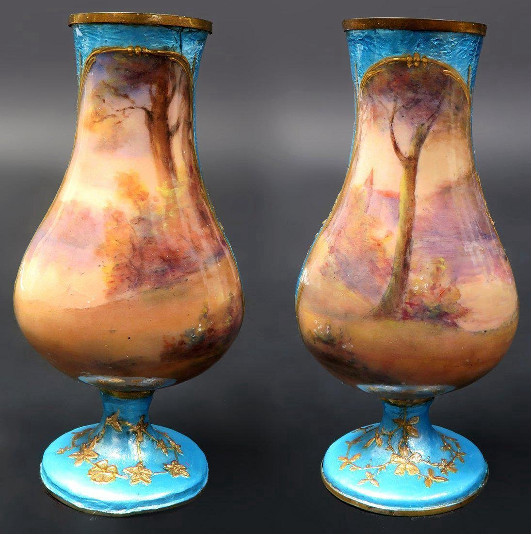 19th C. A Pair of miniature vases signed - 2