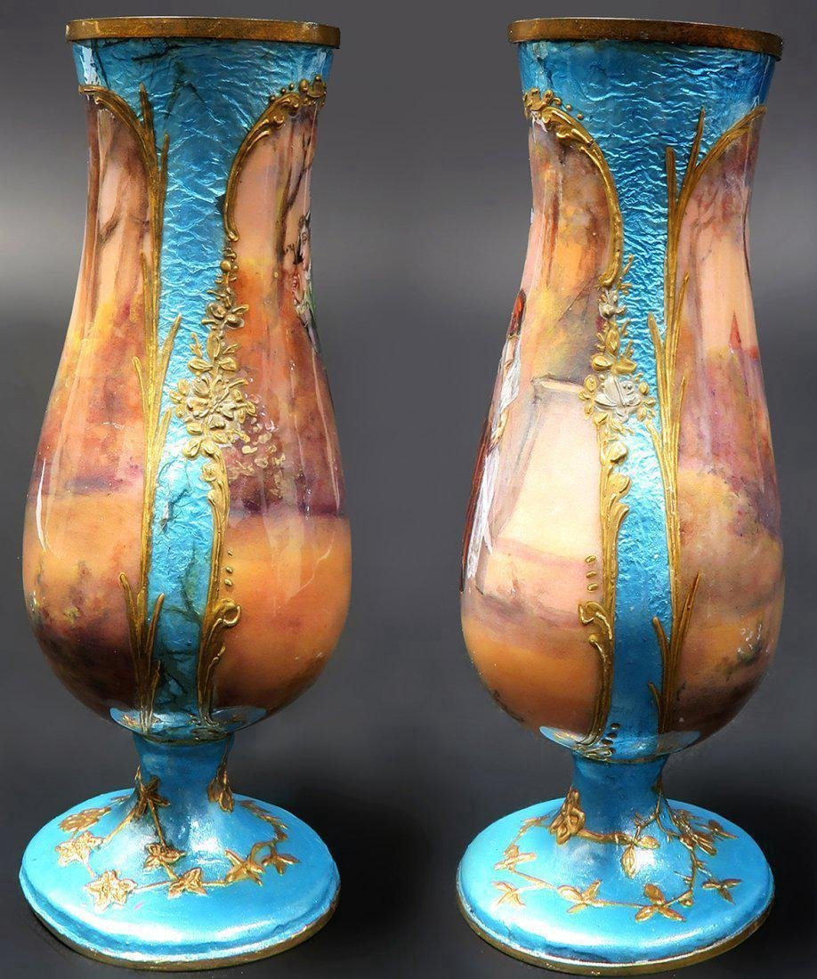 19th C. A Pair of miniature vases signed - 3