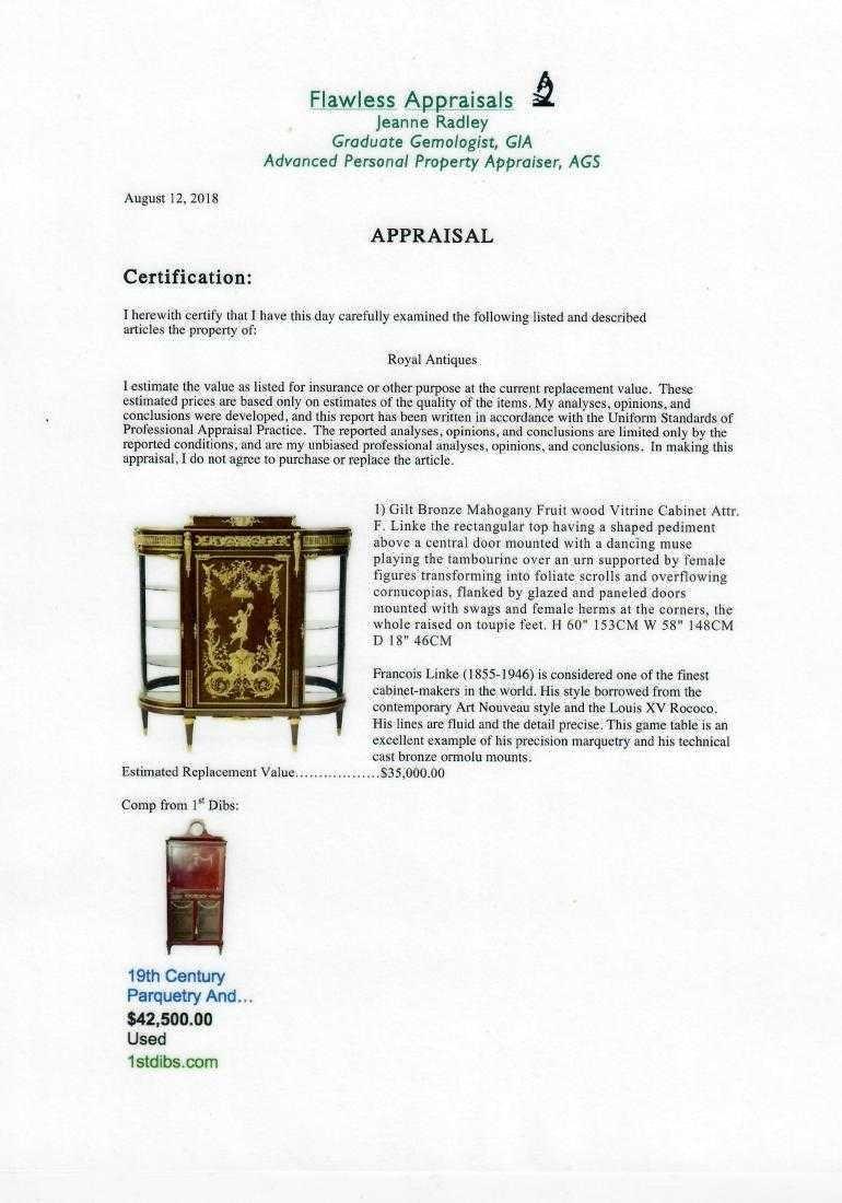 Gilt Bronze Mahogany Vitrine Cabinet Attr. F. Linke - 2