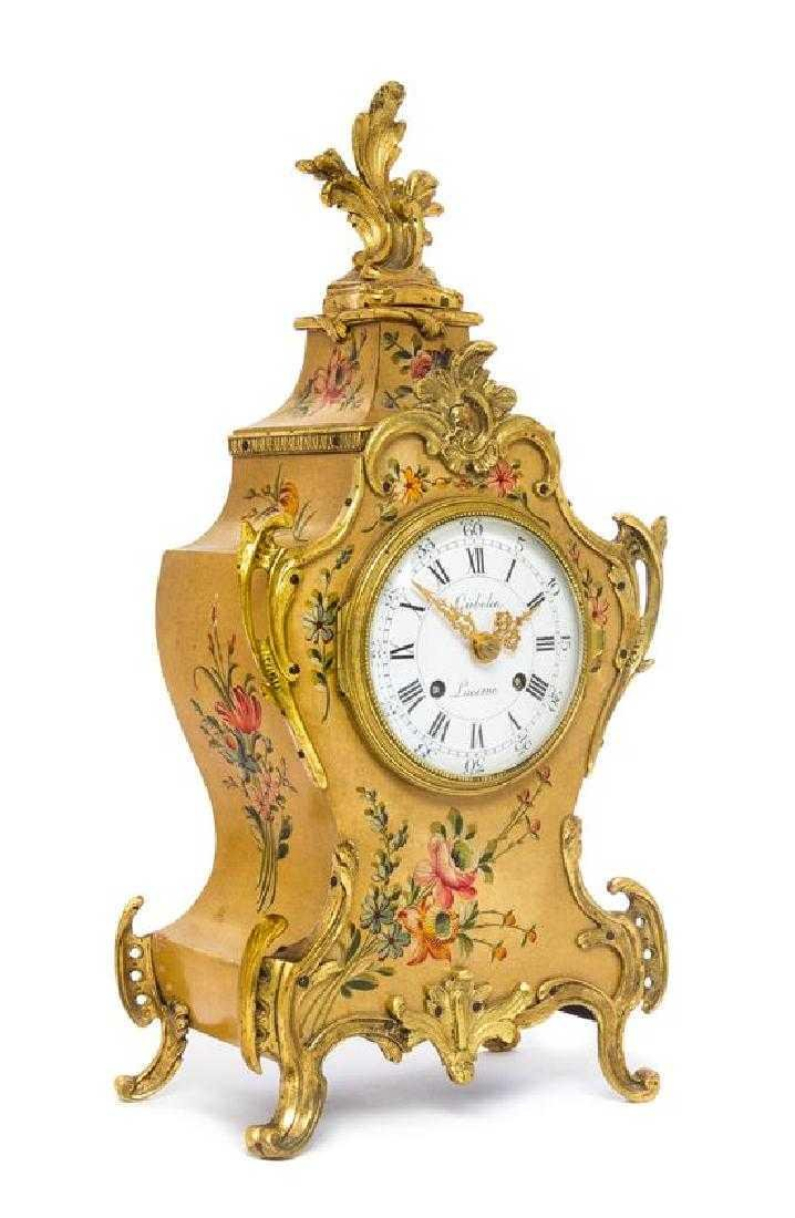 Louis XV Style Gilt Bronze Mounted Painted Mantel Clock