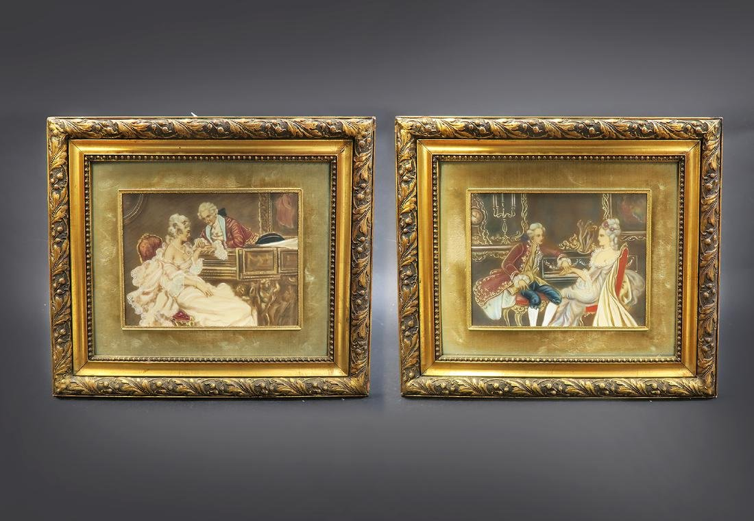 Pair Of 19th C. Italian Painting With Convex Glass