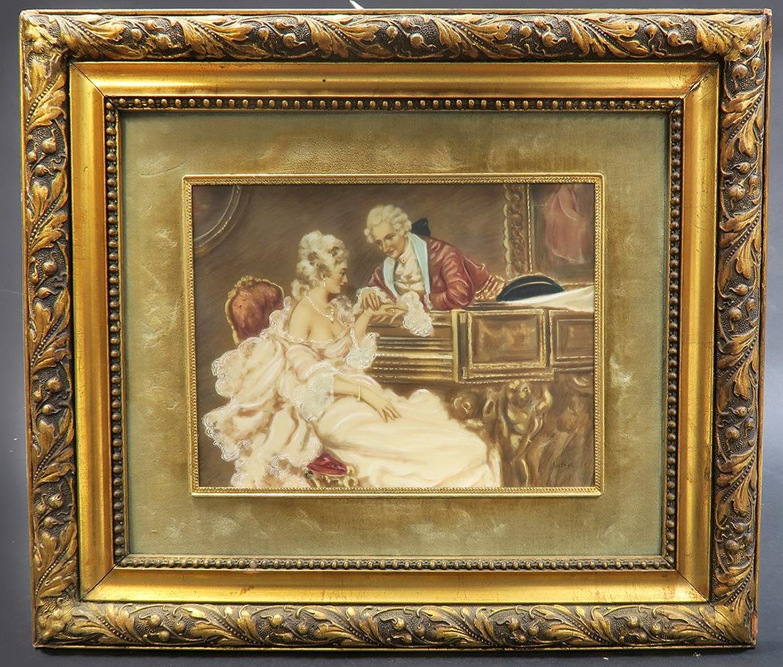 Pair Of 19th C. Italian Painting With Convex Glass - 2