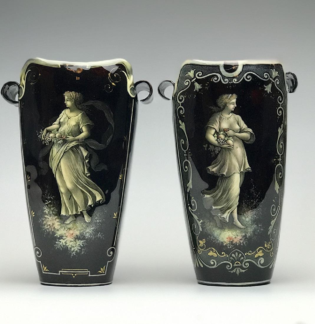 Pair of French Enamel on Silver Vases