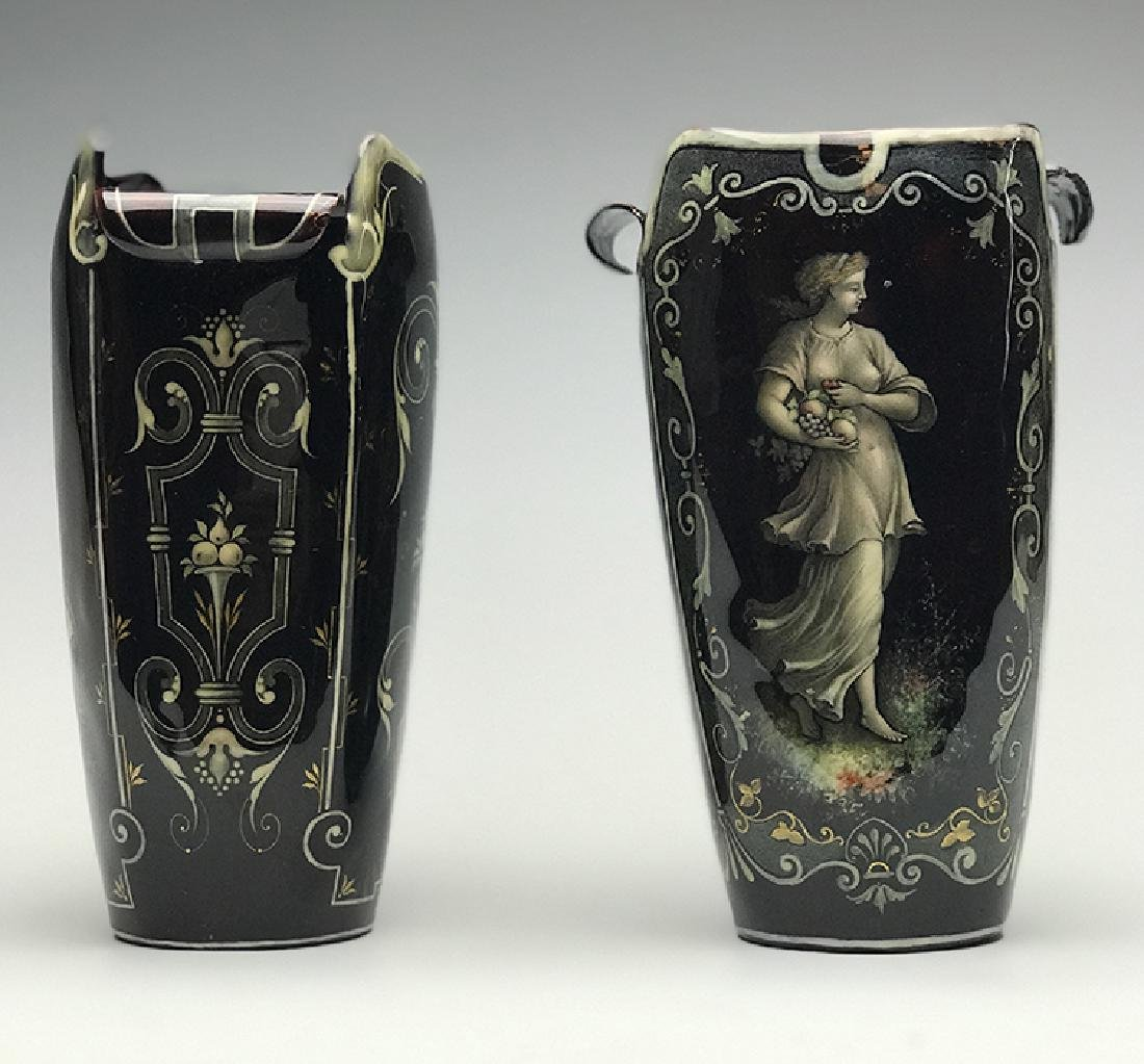 Pair of French Enamel on Silver Vases - 2