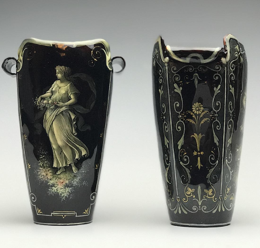 Pair of French Enamel on Silver Vases - 3