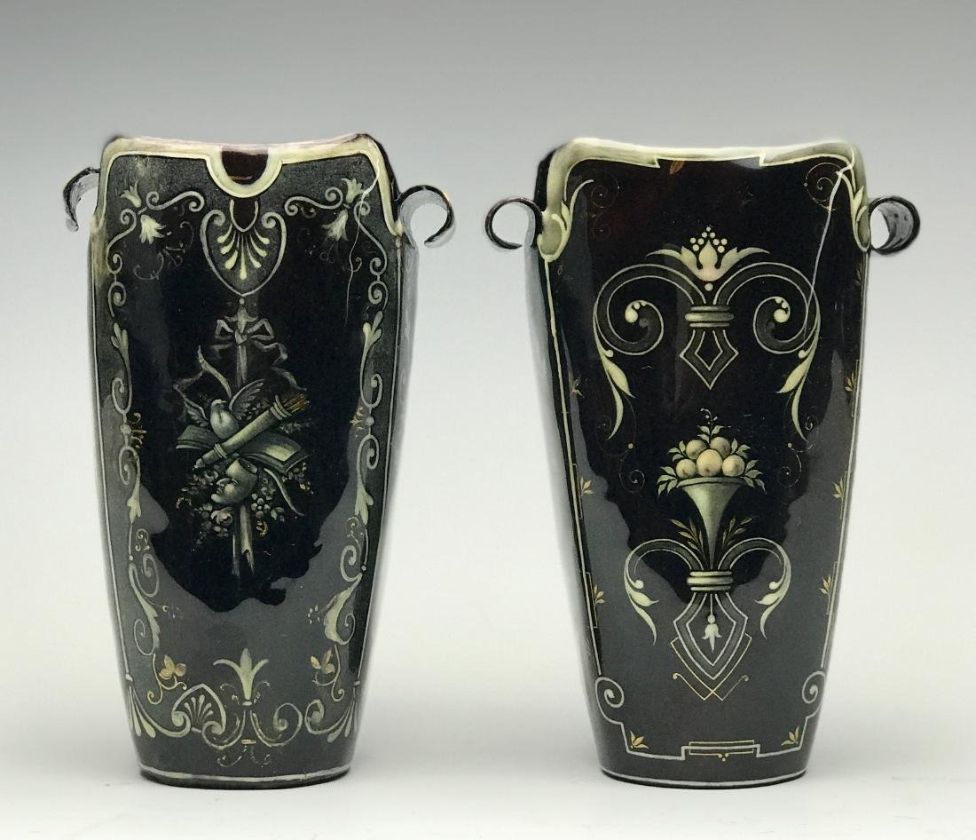 Pair of French Enamel on Silver Vases - 4